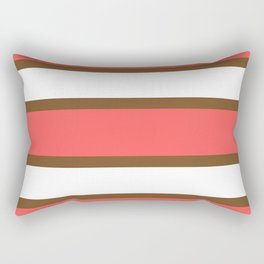 Chocolate Brown + Coral:  Stripe Stripe Rectangular Pillow