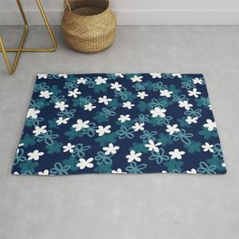 Teal and Blue Textured Floral pattern  Rug