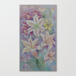 White Lilies in the Garden Purple pastel colors Flowers Floral  pastel drawing Canvas Print