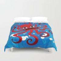 moustache Duvet Covers featuring Moustache Octopus by Crimson Pumpkin