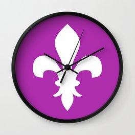 Fleur de Lis (White & Purple) Wall Clock