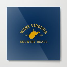 West Virginia Country Roads State Map WV Established Home 304 Metal Print