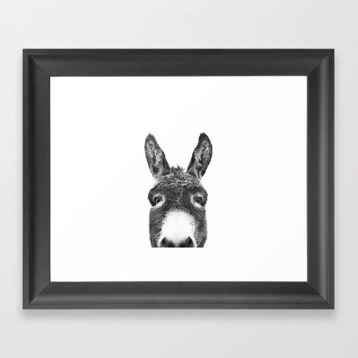 Hey Donkey BW Gerahmter Kunstdruck