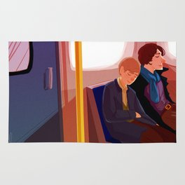 Johnlock on the tube after a case Rug