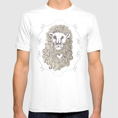 Lion Heart White MEDIUM Mens Fitted Tee