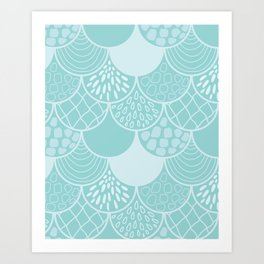Abstract blue scales doodle vector repeating pattern Art Print