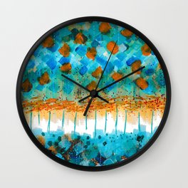 Blue and Orange Abstract Wall Clock