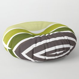 Olive Green Minimalist Watercolor Mid Century Staggered Stripes Rothko Color Block Geometric Art Floor Pillow