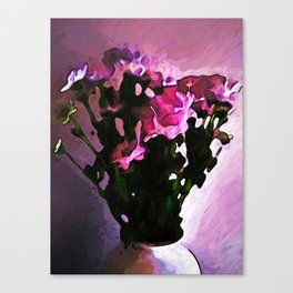 Pink Flowers in a Vase with Light and Shadows Canvas Print