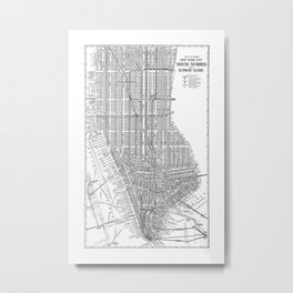 New York City Subway Map, New York City Art, Manhattan New York Metal Print
