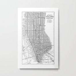 New York City Subway Map, New York City Art, Manhattan New York Metal Print
