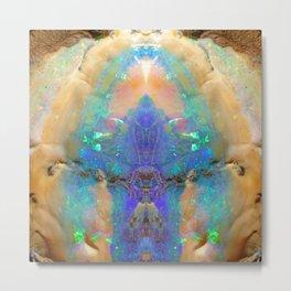 Aquamarine Opal Gemstone Marble Pattern Metal Print