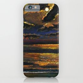 'Moonlight Over a Dark Ocean' coastal landscape painting by F. Cook iPhone Case