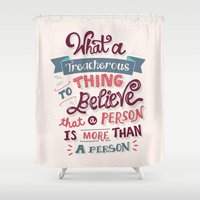 paper towns Shower Curtains featuring Paper Towns: Treacherous Thing by Risa Rodil