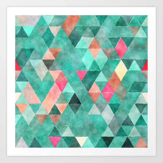 Retro Triangles Pattern 03 Art Print