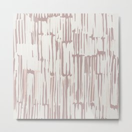 Simply Bamboo Brushstroke Lunar Gray on Clay Pink Metal Print