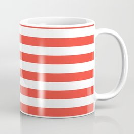 Even Horizontal Stripes, Red and White, M Coffee Mug
