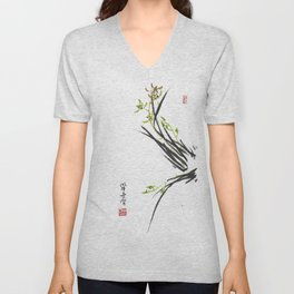 Green Wild Orchid Two Unisex V-Neck