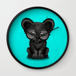 Cute Baby Black Panther Cub Wearing Glasses on Blue Wall Clock