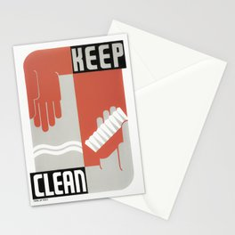 Keep Clean - Healthcare WPA Print - Circa 1937 Stationery Cards