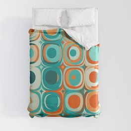 Orange and Turquoise Dots Duvet Cover
