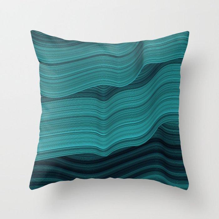Blue waves Throw Pillow