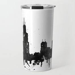 Watercolor Chicago Skyline Travel Mug