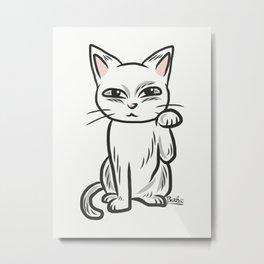 White funny cat Metal Print