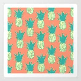 Pineapples (Persimmon orange) Art Print