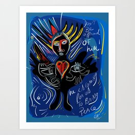 Black Angel Hope and Peace for All Street Art Graffiti Art Print