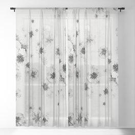 Japanese Shoji Flower Pattern Sheer Curtain