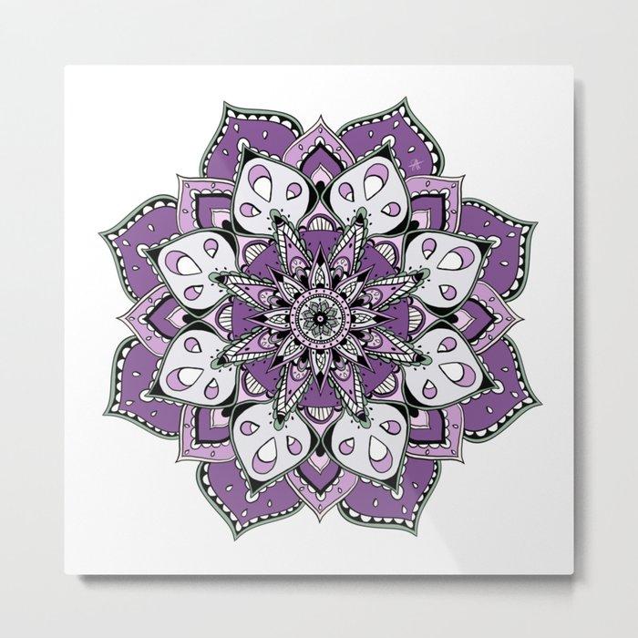 Mandala Purpel stars By Sonia H. Metal Print