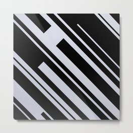 Bold Black and White Lines Shapes Geometry Geometric Contrasts Metal Print