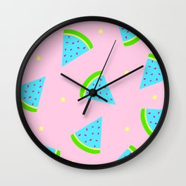Watermelon in Pastel Neon | Watermelon Seed | Watermelon Home Decor | pulps of wood Wall Clock
