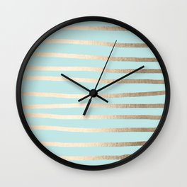 Simply Drawn Stripes White Gold Sands on Succulent Blue Wall Clock