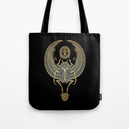 Golden Blue Winged Egyptian Scarab Beetle with Ankh Tote Bag