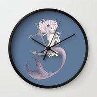 siren Wall Clocks featuring Siren  by Jo Sharp