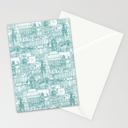 Edinburgh toile teal white Stationery Cards