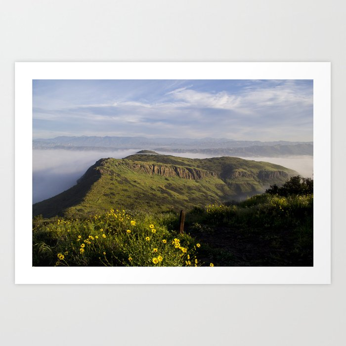 Over Look of Foggy Mountains Art Print
