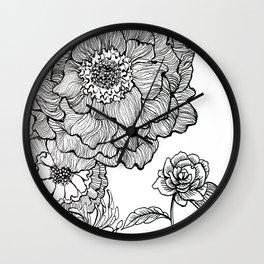 flower line drawing Wall Clock