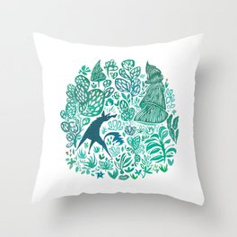 Forest Wolf Throw Pillow