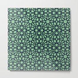 Green Elegance Geometric Pattern Metal Print