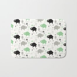 Seamless pattern with cute baby buffaloes and native American symbols, white Bath Mat