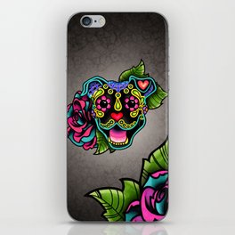 Smiling Pit Bull in Black - Day of the Dead Pitbull Sugar Skull iPhone Skin