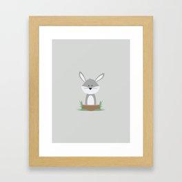 Rabbit on Stump Framed Art Print