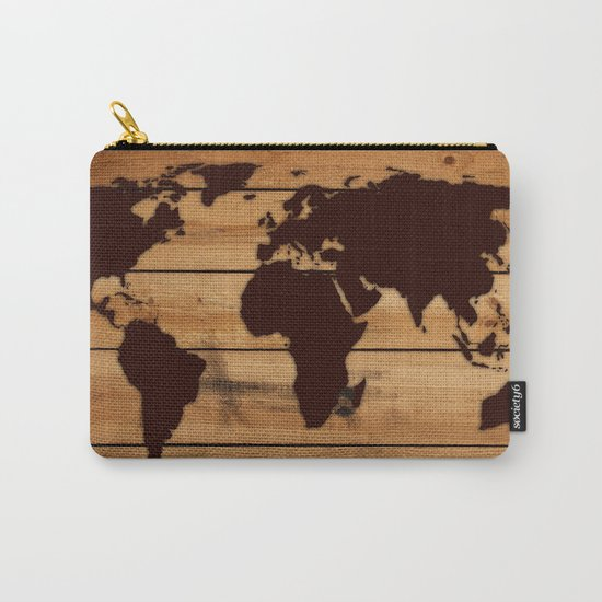 map world wood Carry-All Pouch