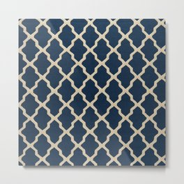 Dark Blue Traditional Moroccan Pattern Texture - A2 Metal Print