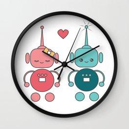 cute cartoon robots in love Wall Clock