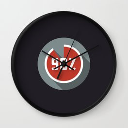 "Illustration ""percentage - 90%"" with long shadow in new modern flat design Wall Clock"