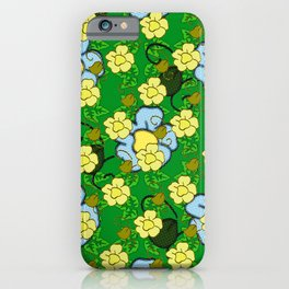 Floral pattern with voronoi and halftone details iPhone Case